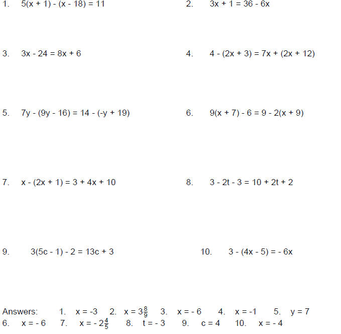 Solving Linear Equations in One Variable – Solving Literal Equations Worksheet
